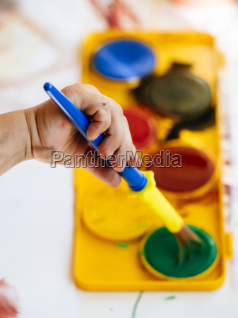 painting with watercolours girls hand with