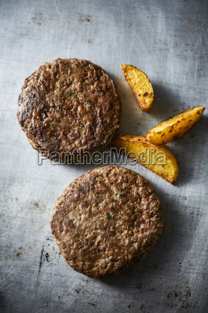 fried ground beef burger and potato
