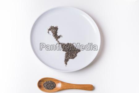 chia seeds on plate shaped like