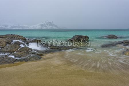 norway lofoten hauckland beach in winter