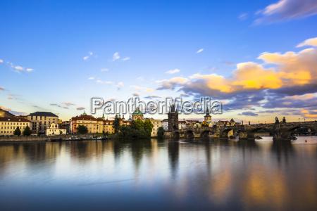charles bridge and vltava river in