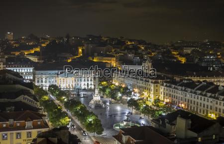 portugal lisbon rossio square at night