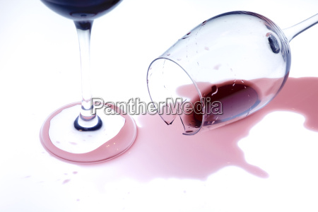 glasses of red wine fallen