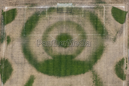 aerial view of wet soccer field