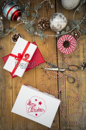 christmas decoration and wrapped presents on