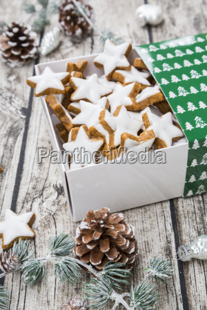 cinnamon stars in box and christmas