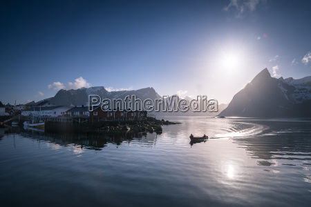 norway lofoten fishing boat in fjord