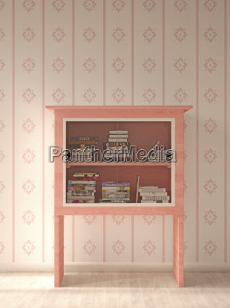 pink showcase with books standing in