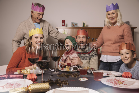 funny three generation family portrait with