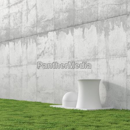 3d illustration nuclear power station concrete
