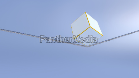 3d rendering balance object cube on