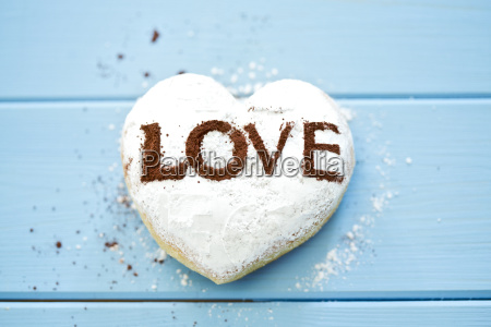 pastry with the word love on