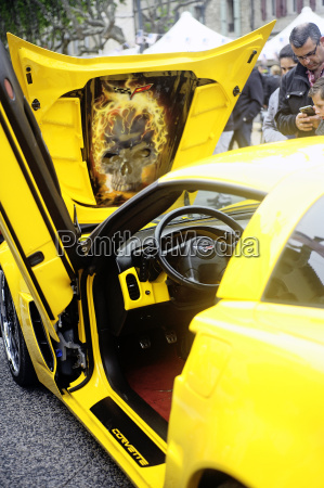 a yellow corvette exposed