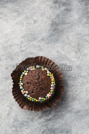 cupcake with chocolate icing and sugar