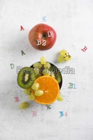 banane apple orange kiwi and green