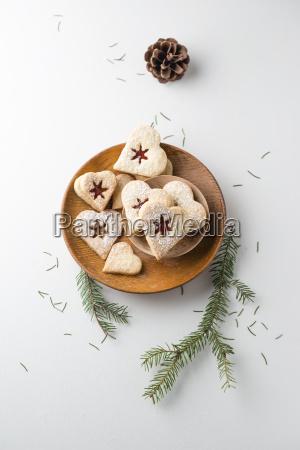 vanilla cookies heart shaped marmelade and