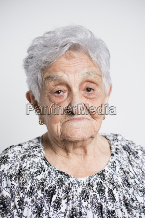 portrait of sad senior woman in