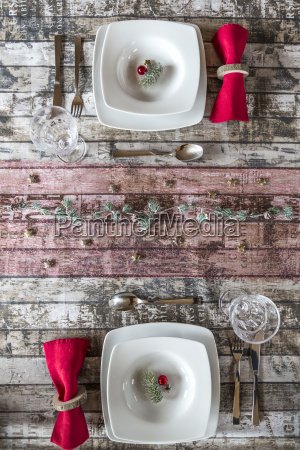 two place settings on laid table