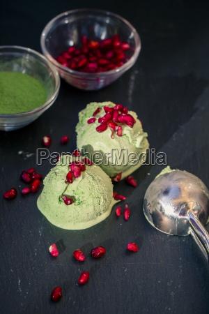 homemade matcha ice cream with pomegranate