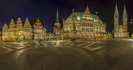 germany bremen market square at night