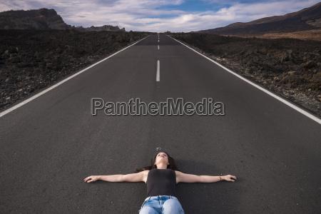spain tenerife woman lying on an