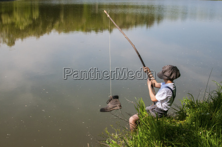 italy little boy fishing shoe