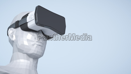dummy with virtual reality glasses 3d