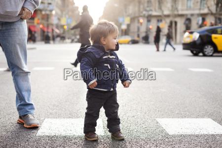 spain barcelona little boy standing on