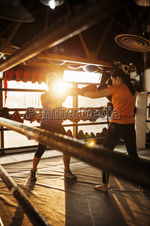 two female boxers fighting in ring