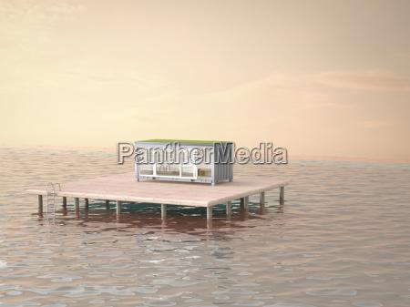 mobile home on platform in ocean