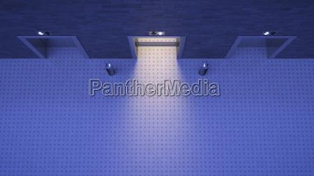 lifts blue lighting mood open door