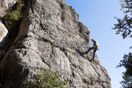 spain tarragona siurana climber climbing a