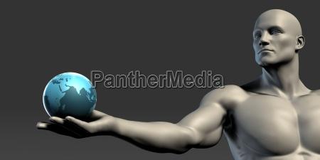 hand palm holding globe
