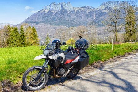 motorcycle with the mountain in the