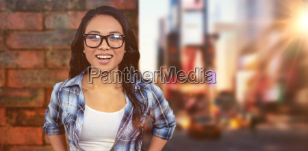 composite image of asian woman smiling