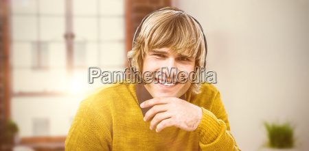 composite image of smiling hipster businessman