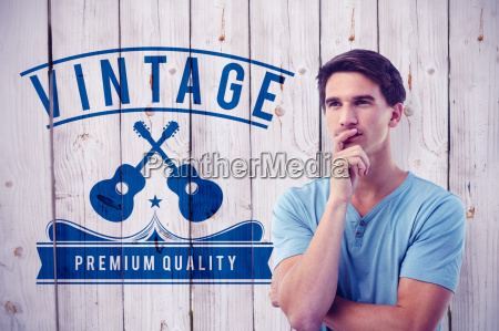 composite image of handsome man thinking