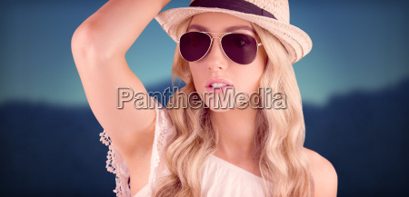 composite image of gorgeous blonde hipster