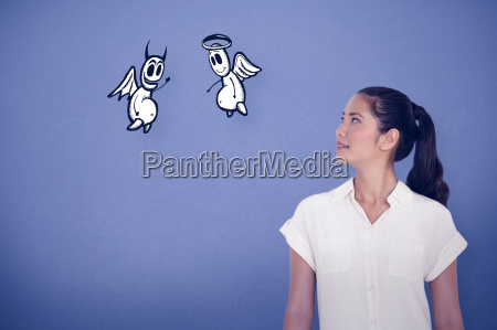 composite image of casual businesswoman looking