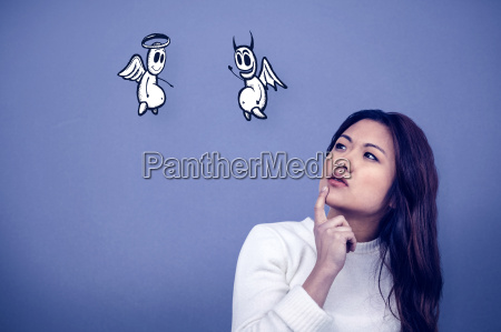 composite image of thoughtful asian woman