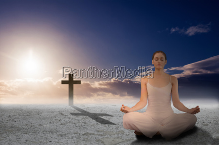 composite image of peaceful woman in