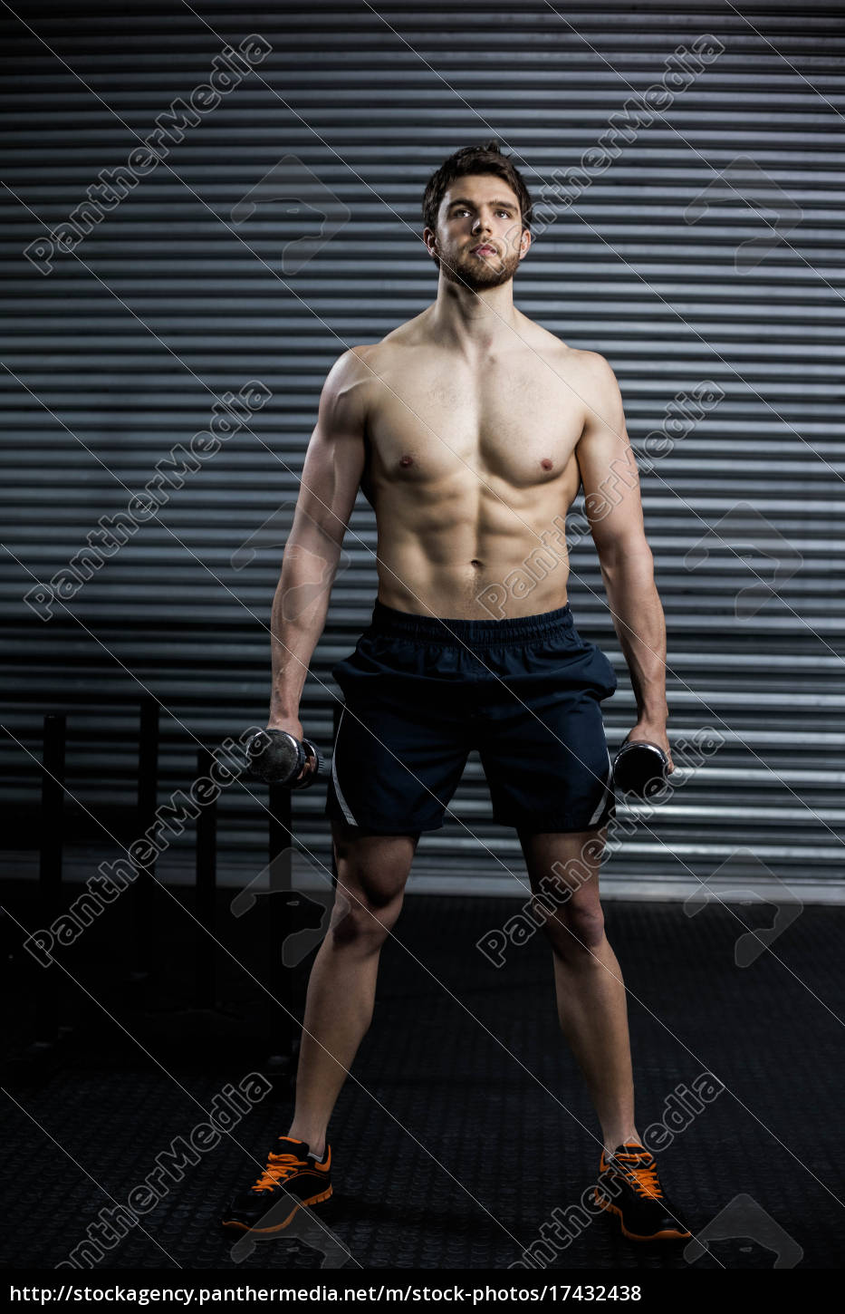 front, view, of, serious, man, lifting - 17432438