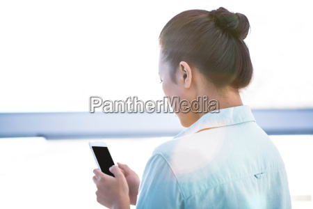 rear view of a businesswoman using