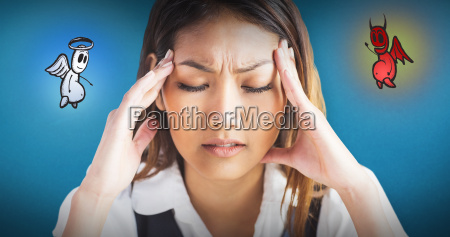 composite image of nervous businesswoman holding