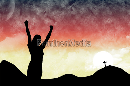 composite image of arms raised silhouette