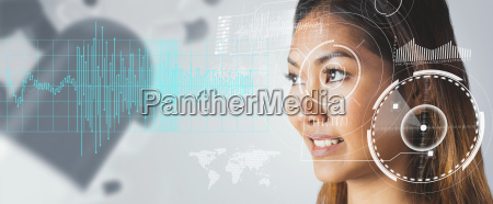 composite image of smiling businesswoman looking