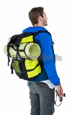 side view of backpacker hipster