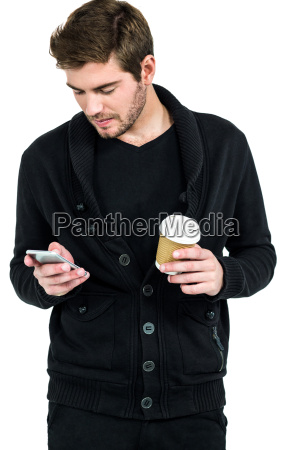 handsome man using smartphone and holding