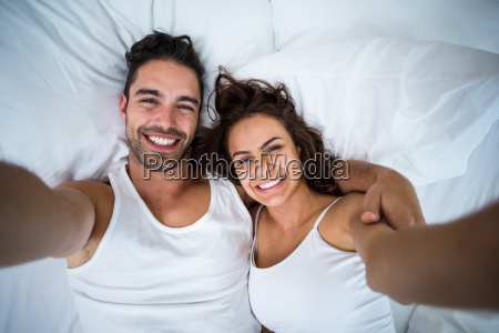 high angle view of couple taking