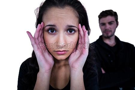 sad woman looking at camera with